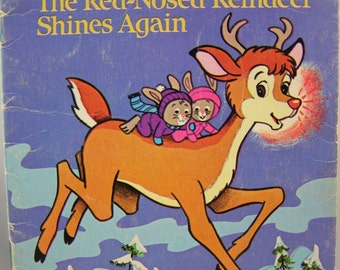 50% off clearance sale! Rudolph the Red-Nosed Reindeer Shines Again, vintage children's book