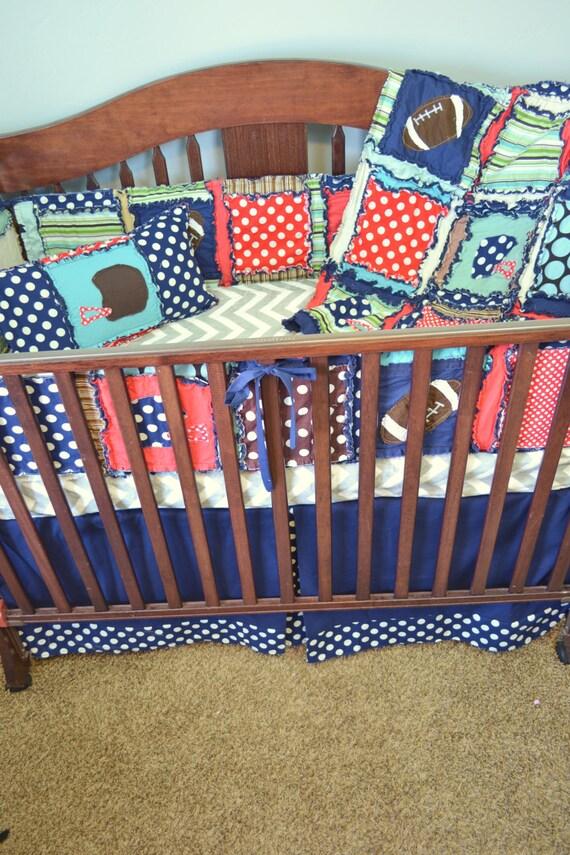 Items Similar To Football Nursery Crib Size Rag Quilt