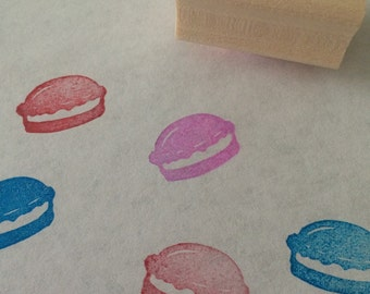 Macaron - hand carved rubber stamp