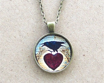 Raven Victorian Heart Art Glass Pendant Black Crow Magic Birds