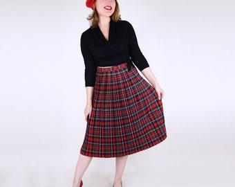 "50s Pleated Stewart Tartan Wool Skirt by Jantzen 24"" waist"