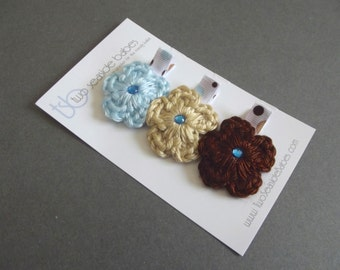 Blue and Brown Hair Clips Light Blue Hair Clips Crochet Flower Hair Clips Polka Dot Hair Clips Baby Girl Hair Clips Baby Hair Clips Spring