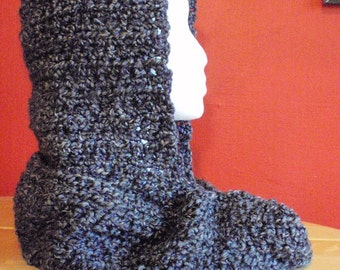 Hooded Scarf - Hooded Cowl - Hand Crochet  - Charcoal Gray - Adult - One Size Fits All