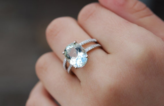 Blake Lively ring Aquamarine Engagement Ring oval cut 14k white gold diamond  ring 3.03ct Jasmine