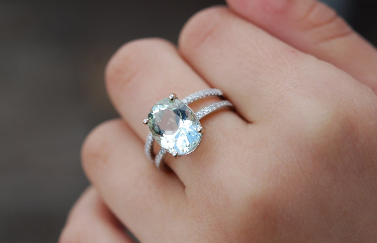 White sapphire emerald cut engagement rings