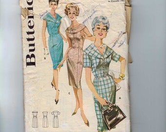 1960s Vintage Sewing Pattern Butterick 9762 Misses Slim Dress with Shawl Collar Plus Half Size 14 1/2 Bust 35 60s