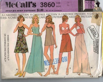 1970s Vintage Sewing Pattern McCalls 3860 Misses Slip or Camisole and Half Slip Stretch Knit Size 14 Bust 36 1973 70s  99