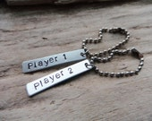 Gaming Player 1 Player 2 Keychains Couple Matching Set Ball Chain Tags Stamped Aluminum Silver