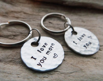 Couples Keychains I Love You More - Valentine Gift Set Keychains - Anniversary Love Stamped Aluminum Silver Keychain Key Ring