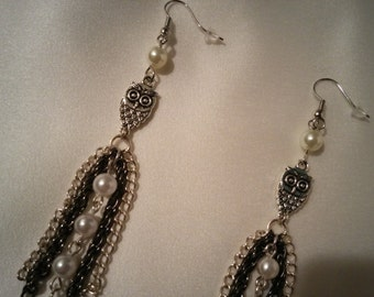 Owl Earrings, pearls and chains