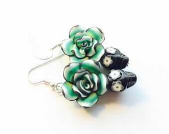 Day of the Dead Rose and Sugar Skull Earrings Green and Black Medium
