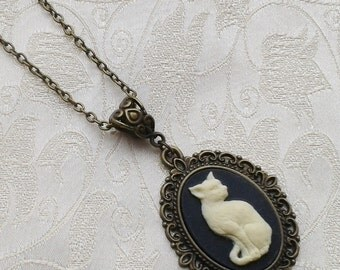 Gothic Lolita Steampunk Cat Cameo Bronze Metal Filigree Necklace