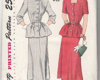 "Vintage Sewing Pattern 1940's Ladies Dress Simplicity 2393 Size 30"" Bust - Free Pattern Grading E-book Included"