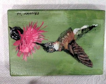Hummingbird ACEO ,small bird, 2 x 3 ACEO on magnet, with easel, hand-painted,art trading card,collectible art,small art, acrylic