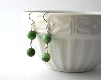 Long Green Agate Sterling Silver Earrings