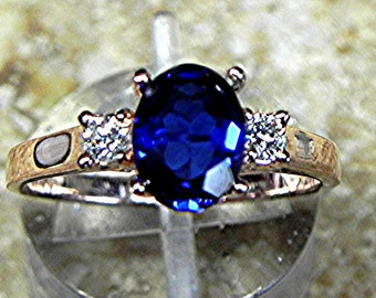 AAA Lab Grown Blue Sapphire  8x6mm 1.40 ct with .14 cts of Diamonds 14K Rose gold ring T86  1750