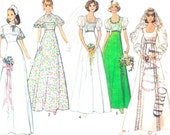 Simplicity 6940 Wedding Dress Pattern Empire Waist Flared Skirt Cape Collar Wedding Gown Bridesmaid Dress Vintage Sewing Pattern Bust 36
