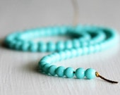 100 Opaque Turquoise 4mm Glass Rounds - Czech Glass Beads