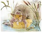 Nursery Art Print -  Art for Girls Room - Woodland Nursery Art - Duck Art - Steampunk Animal - Cottage Decor - Cottage Chic - Kids Room Art
