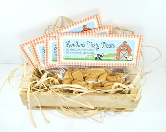 DIGITAL Barnyard Animal Folded Favor Treat Tag - Red, White Gingham with Cow, Pig, Sheep, Rooser, Barn