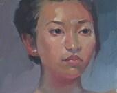 "Art painting portrait ""Alexa"" 12x9 inch original oil by Oregon artist Sarah Sedwick"