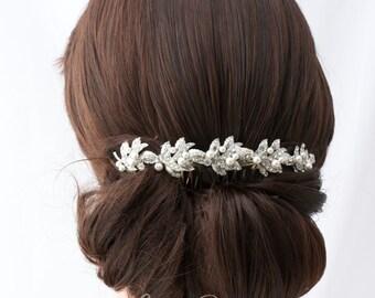Bridal Headpiece Rhinestone Hair Vine Bridal Hair Clip Swarovski Crystal Hairpiece Vintage Style  Back Hair Comb Wedding Headpiece  KAREN