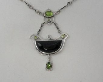 Peridot and Black Jade Art Nouveau style pendant