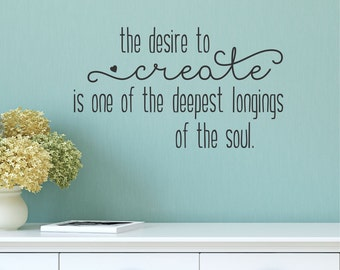 Wall Quote Decal Desire To Create Crafty Inspirational Office Craft Room Sewing GirlBoss Maker Vinyl Wall Decal