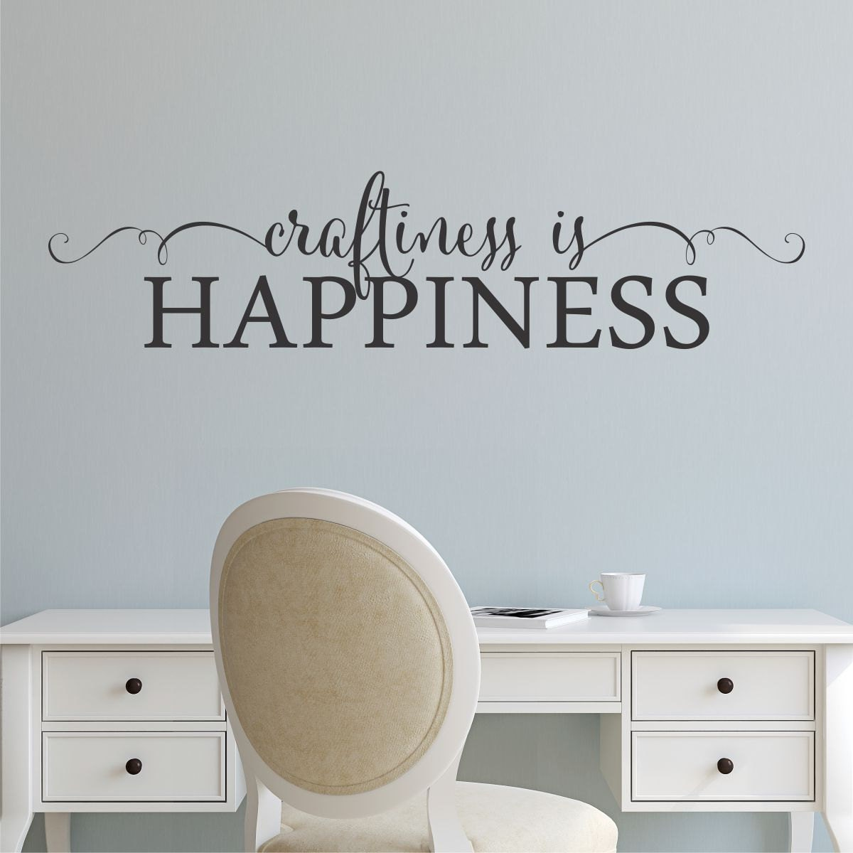 Wall quote decal craftiness is happiness craft room creative zoom amipublicfo Gallery
