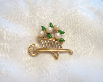 Vintage Flower Cart Brooch Faux Pearl Enamel Rhinestone Goldtone