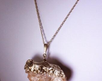 Peach Pendant Spirit Quartz Pendant Druzy Crystal Pendant Double Terminated Unique Stone Pendant Raw Stone Pendant SPQ-P-105-011g