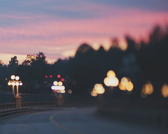 Colorado Street Bridge photo, Pasadena photograph, sunset, night photography, romantic, abstract, bokeh, pink purple gold, California home