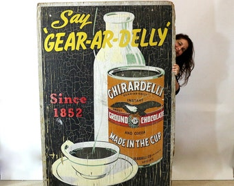 1915 Chocolate Sign Ghirardelli Chocolate | Exterior Billboard San Francisco History | Authentic Cocoa Sign