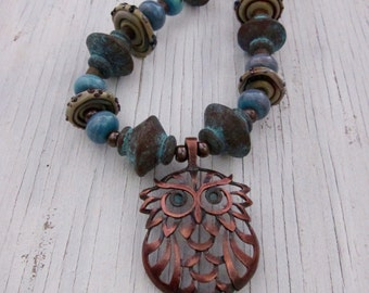 Rustic Owl Necklace, Funky Copper Bird, Earthy Statement Jewelry