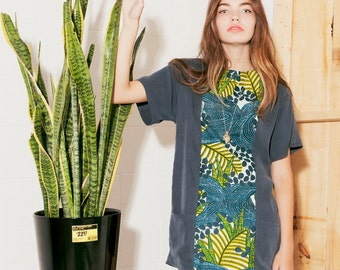 Tunic dress Navy with African cotton ((SALE))