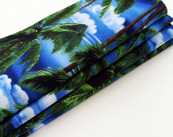 Palm Trees & Blue Sky Cotton Napkins / Set of 4 / Blue Skies, White Clouds, Palm Trees Tropical Table Decor / Eco-Friendly Gift Under 50