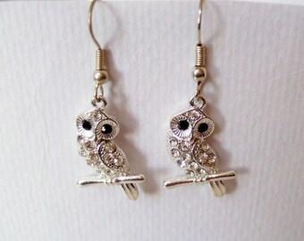 Sparkly Owl Earrings - Diamante Drop Earrings with Crystal