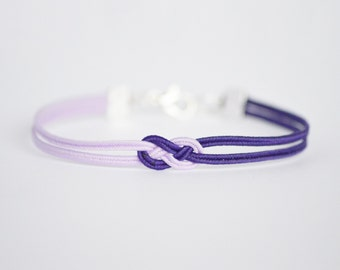 Light lavender purple and deep purple delicate minimal petite double infinity knot soutache braid rope bracelet