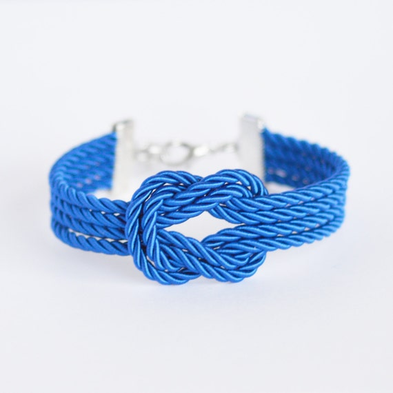 Royal blue forever knot nautical rope bracelet with silver anchor charm