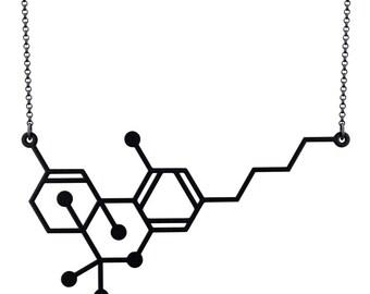 THC Molecule Necklace - Matte Black