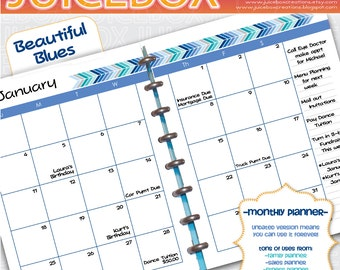 Forever Planner Printable - Monthly Spread - Beautiful Blues - Instant Download - Undated