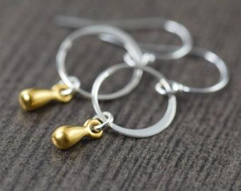 Valentine's Day gift Minimal earrings Teardrop earrings in sterling silver vermeil  gifts for her