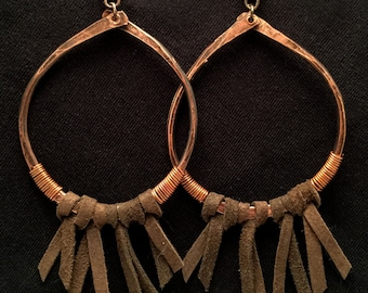 Bohemian Style Hammered Copper with Leather Hoop Earrings