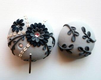 Portuguese Knitting Pin - Magnetic Portuguese Knitting Pin - Knitting Hook - Handmade Knitting Pin or Badge Holder, Black, White, Dove Gray