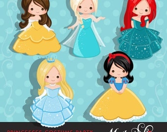 Princess Clipart, cute characters, Graphics, Costume Party, scrapbooking, birthday invitation, embroidery, card making, illustration