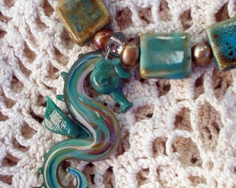 Hand Blown Glass Seahorse  Necklace, with Ceramic Beads and Freshwater Pearls, Copper Clasp, Free Matching Earrings