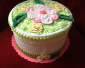 Faux Fake Cake Box Centerpiece/Gift Box/Birthday cake with chenille flowers and leaves in bright green. yellow, white and pink