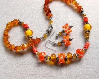 Glass Bead Amber Necklace Earrings Set, Orange Amber Jewelry, Lampwork Bead Necklace & Earrings, Baltic Amber Jewelry, Artisan Necklace Set
