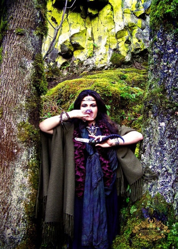 Magic Priestess Gypsy Fortune Teller Fine Art Photography Crystal Wand Pagan Forest Oregon Greeting Card FORTUNA'S EYES by Spinning Castle
