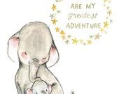 Nursery Art -- My Greatest Adventure ELEPHANT -- Art Print